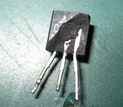 Exploded 2SC1318 transistor