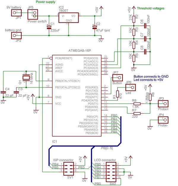 AVR capmeter capacitance meter schematic