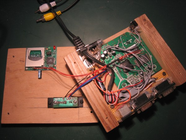 Wooden DTV inside with MMC2IEC device installed