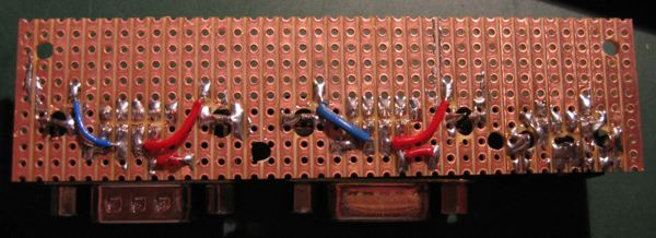 Connector PCB stripboard underside