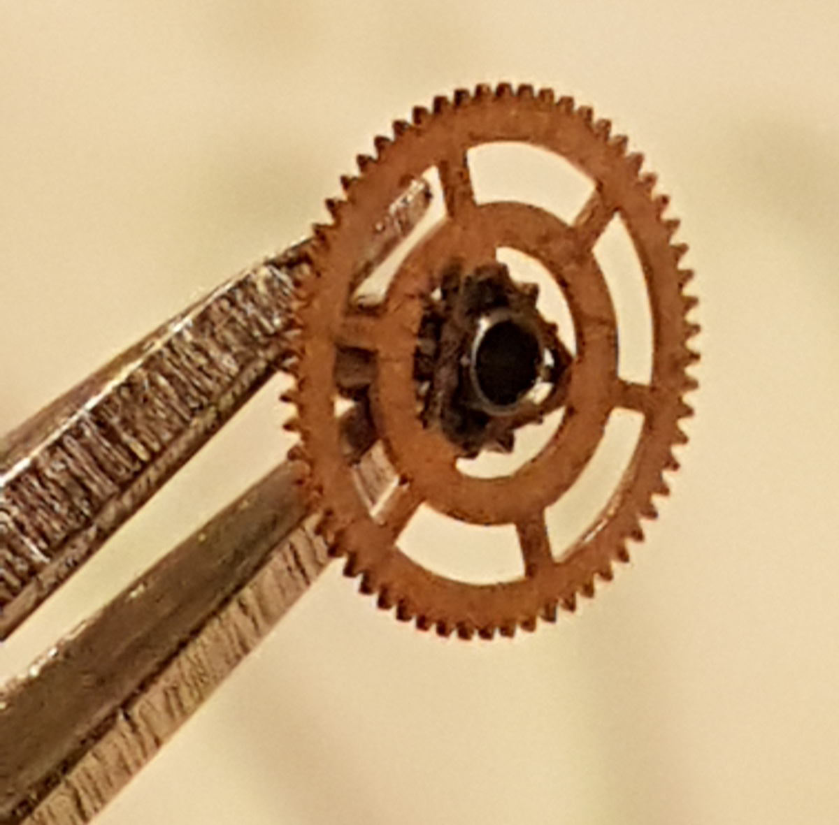 Reassembled cannon pinion and gear